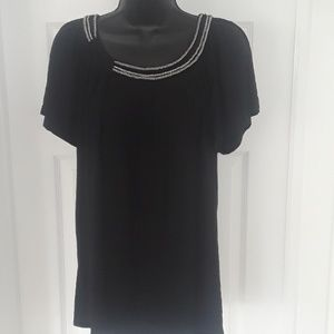 NWOT Michael Kors Black and Gold Chain Top